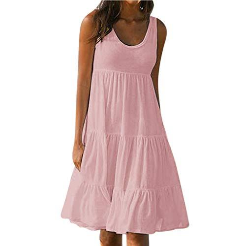 Hochwertiges und einzigartiges Damenkleid, einfarbiges ärmelloses Party-Strandkleid für Damen, Sommerurlaub - WUDUBE-Shop