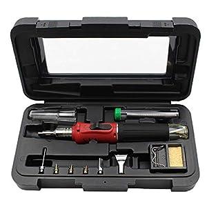 FUN LIFE Soldador de butano red – 10 en 1 Kit de soldador a gas Autoinflamable