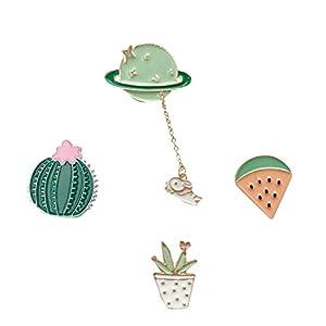 Beyond Brosche/Anstecknadel/Pins aus Metall – 4 Stück Set – Planet, Kaktus, Wassermelone, Blumentopf