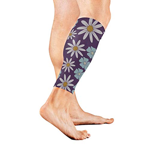 VTYOSQ Tropical Flowers and Jungle Palm Calf Brace Men & Women Leg Compression Socks Calve Guards for Running Cycling Travelling Improve Circulation and Recovery