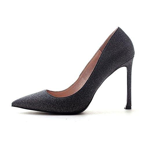YIXINY Escarpin DA106 Chaussures Femme Sequin Tissu + PU Talon Mince Pointu La Bouche Peu Profonde Robe De Mariée 10 CM Talons Hauts Gris Foncé