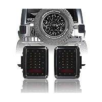 V8 GOD Smoke LED Lens Tail Lights, Brake Light, Rear Turn Signal Lights, Reverse Lamp for 2007-2018 Jeep Wrangler JK