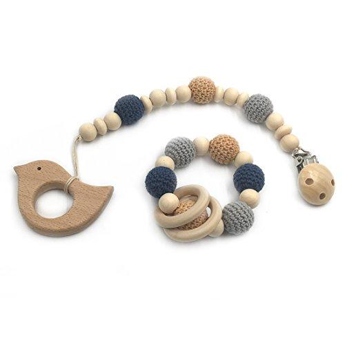 Coskiss 2pcs Bebé dentición juguete madera dientes
