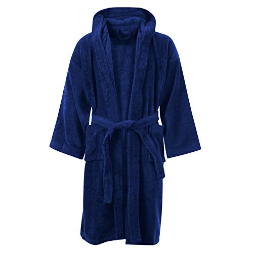 KIDS BOYS GIRLS BATHROBE 100% EGYPTIAN COTTON LUXURY VELOUR TOWELLING HOODED DRESSING GOWN SOFT FINE COMFORTABLE NIGHTWEAR TERRY TOWEL BATH ROBE LOUNGE WEAR HOUSECOAT WITH POCKETS,10-12 Years