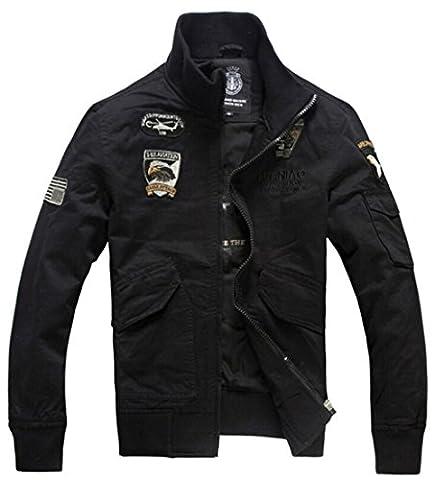 YYZYY Herren Classic Baumwolle Bomberjacke Air Force patches Bomber Jacken Mäntel XS-2XL Mens military Jacket (EU/DE Small, Black)