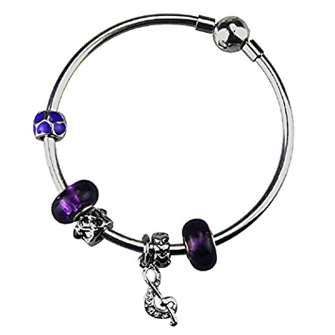 White Birch Silver Plated Bangle Bracelet with Charms for Pandora Bangle for Teen Girls 19cm Purple Jewellery Gifts for