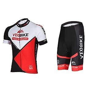 Asvert Ropa de Ciclismo Malliots Bicicleta Conjunto Corto Acolchados de 5 Piezas para Hombre Verano Transpirable y Secado Rápido, Rojo