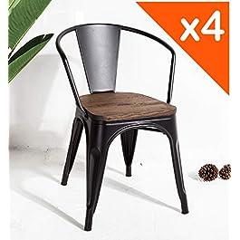 Kosmi – Lot de 4 chaises en métal Noir et Bois foncé Style Industriel Factory en métal Noir Mat, Assise en Bois foncé et…