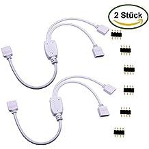 5X RGB 4 Pin Y Kabel 30 cm weiß LED Strip Splitter Verlängerung 1 auf 2 Buchse