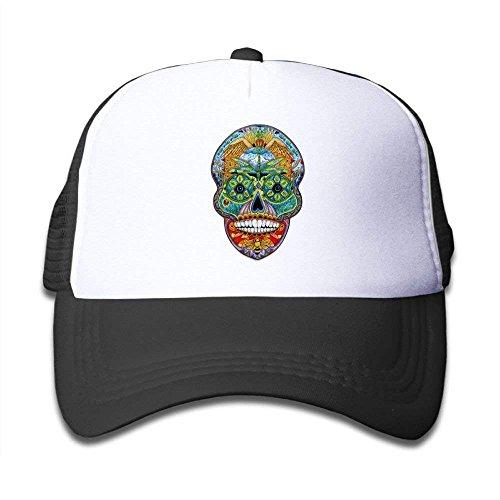 Sugar Skull Puzzle Mesh Baseball Cap Kid Boys Girls Adjustable Golf Trucker Hat