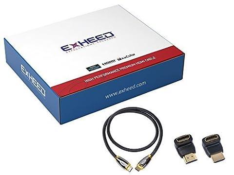 Exheed câble HDMI haute vitesse dernier Ultra HD 4K 2160p Série Pro Elite tressée Plaqué or pour PS4, Xbox One, Mac, HDTV, LCD + Gratuit à 90degrés et 270degrés Angle droit adaptateur HDMI