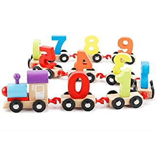 Wooden Number Train, ADESHOP Toddlers First Build Up Block Mini Train With Numbers (A)