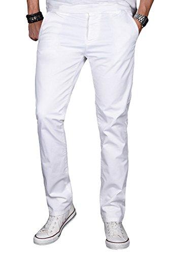 A. Salvarini Herren Designer Chino Stretch Stoff Hose Chinohose Regular Slim mit Elasthananteil AS024 [AS024 - Weiss - W38 L32]