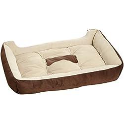 YOUJIA Cama Para Mascota Suave Doggy Doghouse Cojín Basket de Mascotas Perros (Café, M)