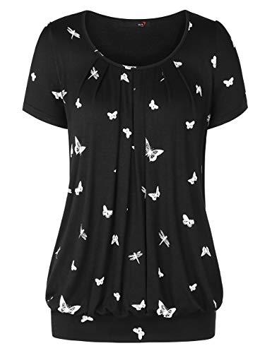 DJT Damen Casual Falten Kurzarm T-Shirt Kurzarmshirt Rundhals Stretch Tunika Schmetterling gedruckt S