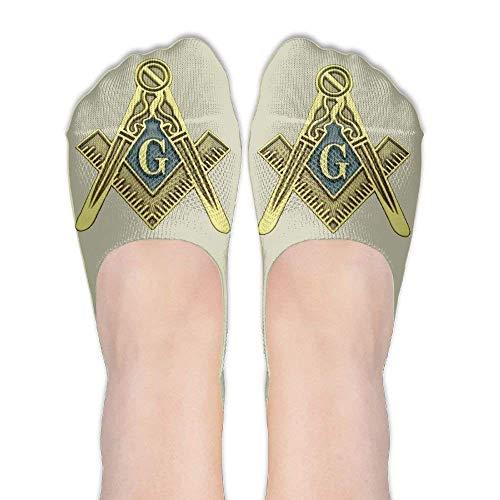 jiilwkie Masonic Symbol Female Polyester Cotton Socks Boat Socks Low Cut Socks Thin Casual Socks -