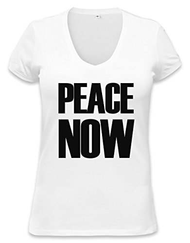 PEACE NOW Womens V-neck T-shirt XX-Large (Hippie Womens 1960 Shirt)