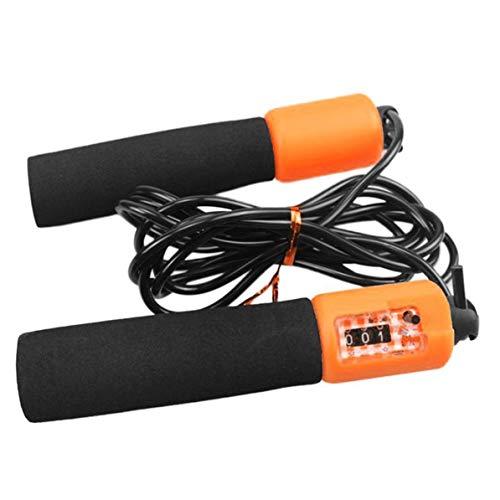 Einstellbare Zähler (WEIWEITOE Einstellbares Springseil mit genauem Zähler Ultra-sicheres, leichtes Springseil mit rutschfestem Griff für Kinder-Sporttraining, schwarz & orange)