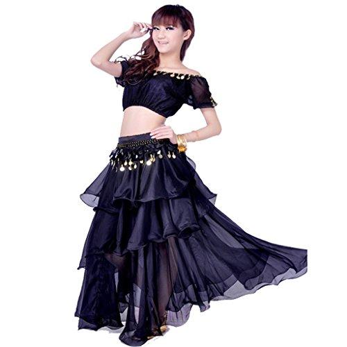 3 Kostüm Teilig Langer Rock - Best Dance Damen Bauchtanz Kostüm 3-teilig Elegante Charming Top 3Schichten Röcke Hip Schal Gürtel