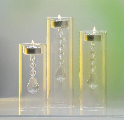 My Home 3er Set Glas-Teelichthalter Kristall