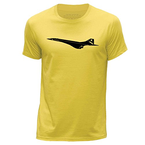 STUFF4 Herren/X Klein (XS)/Gelb/Rundhals T-Shirt/Flugzeug / BAC Concorde (Flugzeug T-shirt Tee)