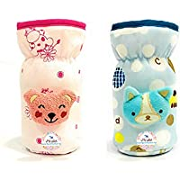 THE LITTLE LOOKERS® Soft Plush Stretchable Baby Feeding Bottle Cover with Easy to Hold Strap   Suitable for 120ml   Cute Animated Overall Print Pack of 2 (Pink & Blue - 120 ML)