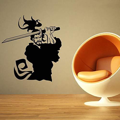 jiushizq Kendo Wandaufkleber Samurai Aufkleber Japan Ninja Poster PVC Vinyl Kunst Wandtattoos Schwert Parede Decor M Rosa 103x116 cm -
