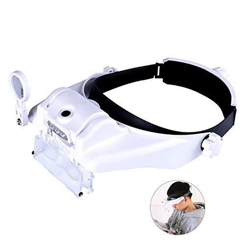 LED Kopfband Lupenbrille mit Licht Beleuchtung Brillenlupe Kopflupe Lamp Stirnlupe Hände Frei Leselupe,6 Linse (1,0X zu 13,0X)