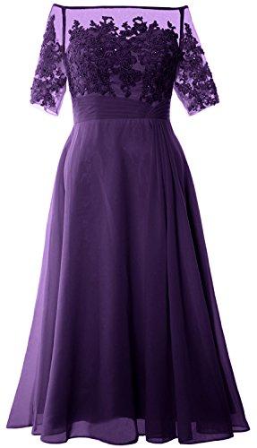 MACloth - Robe - Trapèze - Manches Courtes - Femme Violet