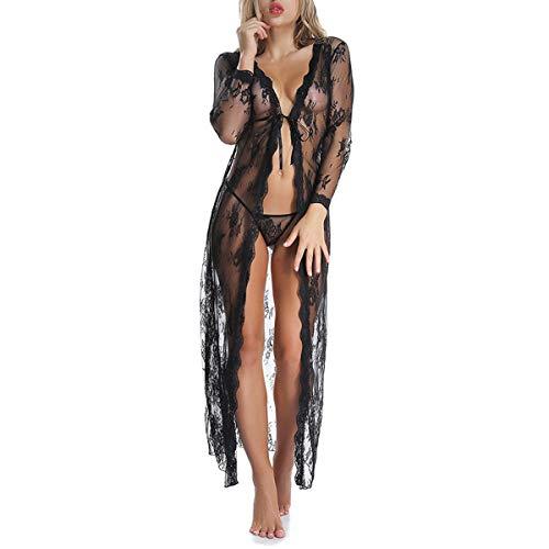 JMITHA Damen Lange Lace Lingerie Robe Temptation Ladies Perspective Underwear Dessous Kimono Spitze Ärmel Transparente Robe Negligee Babydoll Reizwäsche Unregelmäßiger Hem (XL (EU 46), Schwarz)