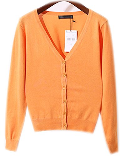 Gilet Femme Pull Col V Manches Longues Cardigan Avec Boutons Tricot Chandail Cardigans Basic Classique Pulls Casual Pull Haut Ladies Top Jumper Orange clair