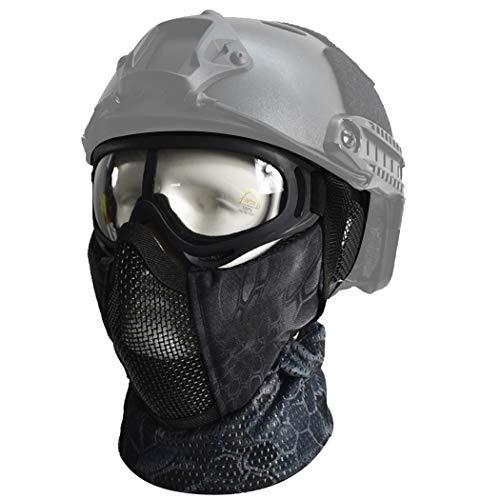 QMFIVE Máscara Media de Airsoft, máscara táctica Protector del oído Caza Paintball de la Motocicleta Militar Película de Cosplay Prop (TYP + Gafas + Bufanda)