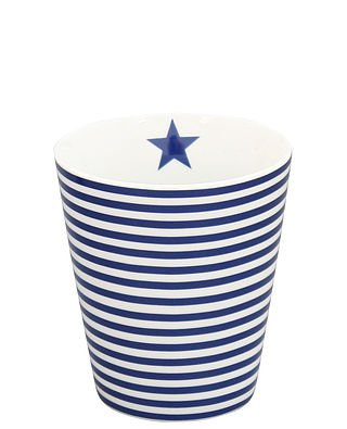 Krasilinikoff - Kaffeebecher/Kaffeetasse - Mug - Blau/Weiss - Streifen - Porzellan - H: 10cm Ø 8,7cm (Mugs Weiß Blau)