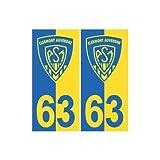 63 ASM Clermont Rugby fond jaune bleu autocollant plaque - Angles : droits
