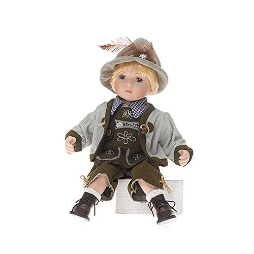 Sammlerpuppe, Porzellanpuppe, Trachtenpuppe Tracht Puppe Junge mit Lederhose sitzt 30cm 120592