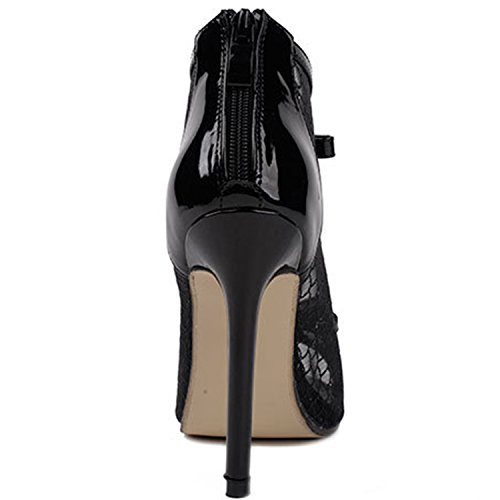 Oasap Women's Hollow out Mesh Bow High Stiletto Heels Pumps Black