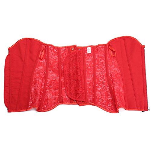 MISS MOLY Korsett|Damen Sexy korsage 14 Spiralstahlstäbe Transparente Spitze Design Mit G-String Schwarz/Weiß/Rot/Beige Rot