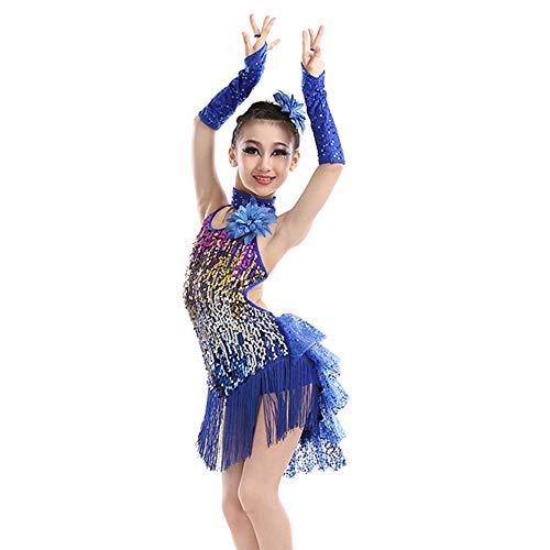 KINLOU Mädchen Pailletten Fringe rückenfreies Latin Dance Kleid - Lyrical Modern Contemporary Gymnastik Dance Kinder Dancewear Kostüm, Dunkelblau/150 (Lyrical Dance Kostüm Kinder)