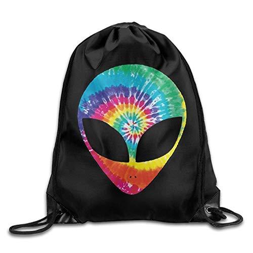 HLKPE Fashion Drawstring Gym Rainbow Tie Dye Alien Head Drawstring Backpack Beam Mouth Sport Bag Shoulder Bags for Men and Women