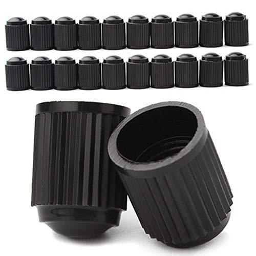 EXQULEG Ventilkappen Fahrrad,Bike Rad Reifen Ventil Abdeckungen, Schraderventil,schwarz Plastik Auch für MTB oder BMX Räder - Set aus 20 Ventilen