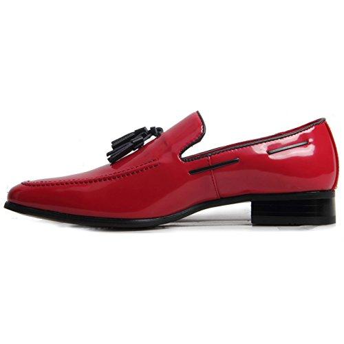 Herren-Slip auf Wildleder Leder gefüttert Western Heel Schlupfschuhe Deko Stitch Schuhe rotes Leder