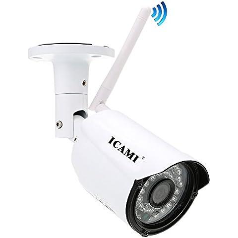 ICAMI Inicio impermeable cámara de vigilancia cámara inalámbrica Cámara IP Wifi seguridad al aire libre con una función de la tarjeta de 8G