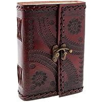 Indra Medium cousue et en relief Journal de cuir avec mousqueton 110x 160mm