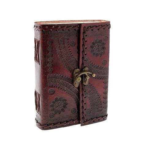 Indra M Journal en cuir avec fermeture brodé et estampé 110x 160mm