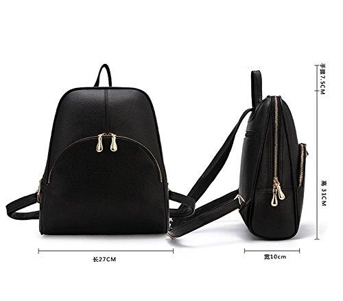 Remeehi da donna donne ragazza studenti scuola borse a tracolla da donna in pelle zaini casual della confezione borsa da viaggio, Pink (Rosa) - JXQ0837-5 Black