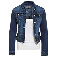 SS7 Womens Stretch Denim Button Detail Ladies Jacket Indigo Jean Jackets Blue Sizes 8-18