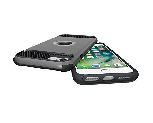 Custodia iPhone 7, iPhone 7 Cover Silicone, SainCat Custodia in Morbida TPU e Hard PC Protettiva Cover per iPhone 7, 2 in 1 Custodia Cover Shock-Absorption Antiurto 3D Design Silicone Case Ultra Slim  Grigio