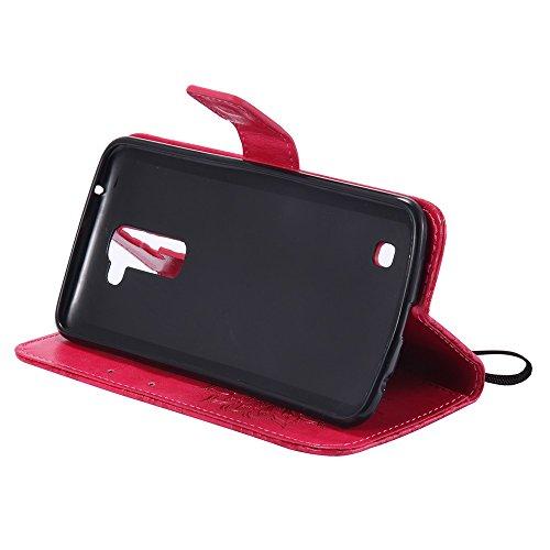 Für LG K10 Fall, Prägen Sonnenblume Magnetische Muster Premium Weiche PU Leder Brieftasche Stand Case Cover mit Lanyard & Halter & Card Slots ( Color : Pink ) Red