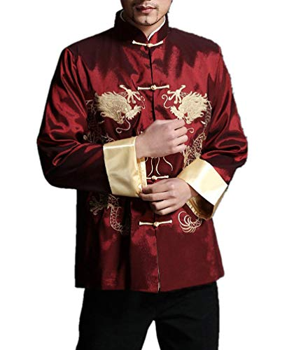 Veste Col Mao Rouge Homme Chemise Soie Blazer Kung Fu Tai Chi Mariage  Dragon  105 1a555e62243
