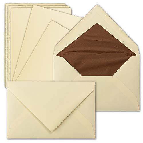 15 Sets Vintage Einzel-Karten & Brief-Umschläge, ca. B6, echtes Bütten-Papier, 11,3 x 17,5 cm, Elfenbein - ohne Falz - Zerkall-Bütten